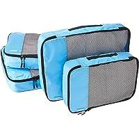 Amazon Basics - Bolsas de equipaje (2 medianas, 2 grandes; 4 unidades), Azul (Cielo)
