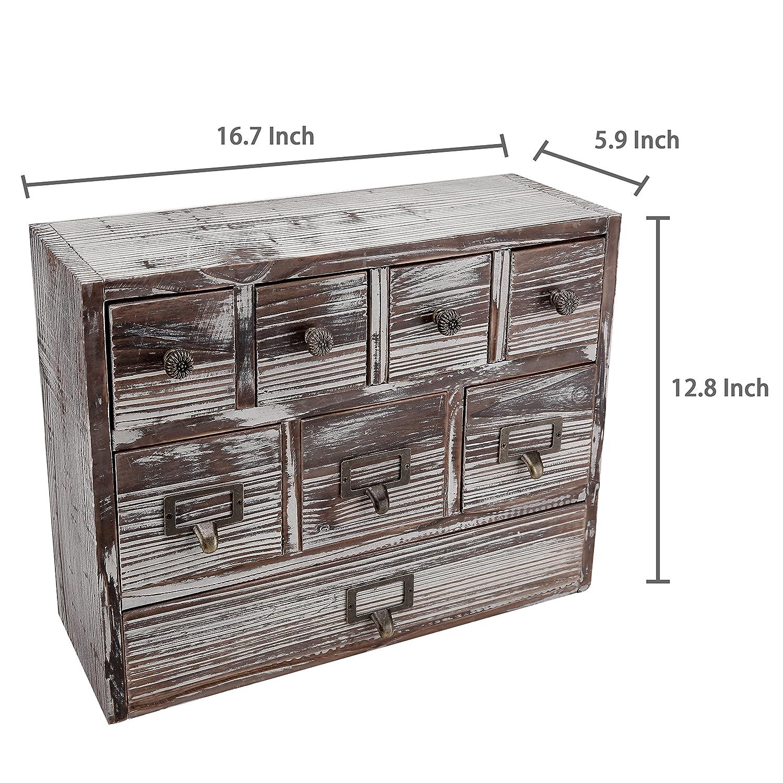 8 Drawer Jewelry /& Craft Supplies Cabinet SPOMHNK253 MyGift 13-Inch Weathered Whitewashed Brown Wood Desktop Organizer