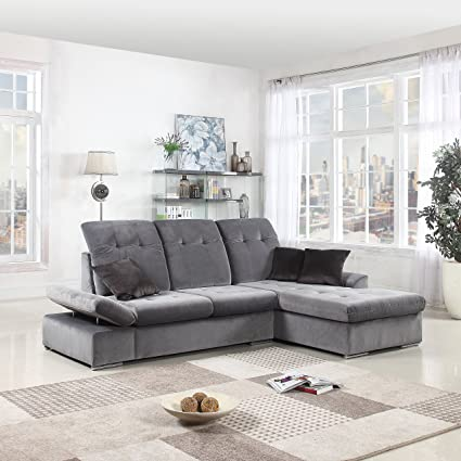 Classic Large Brush Microfiber L Shape Sectional Sofa Couch With Chaise  Lounge And Adjustable Headrest