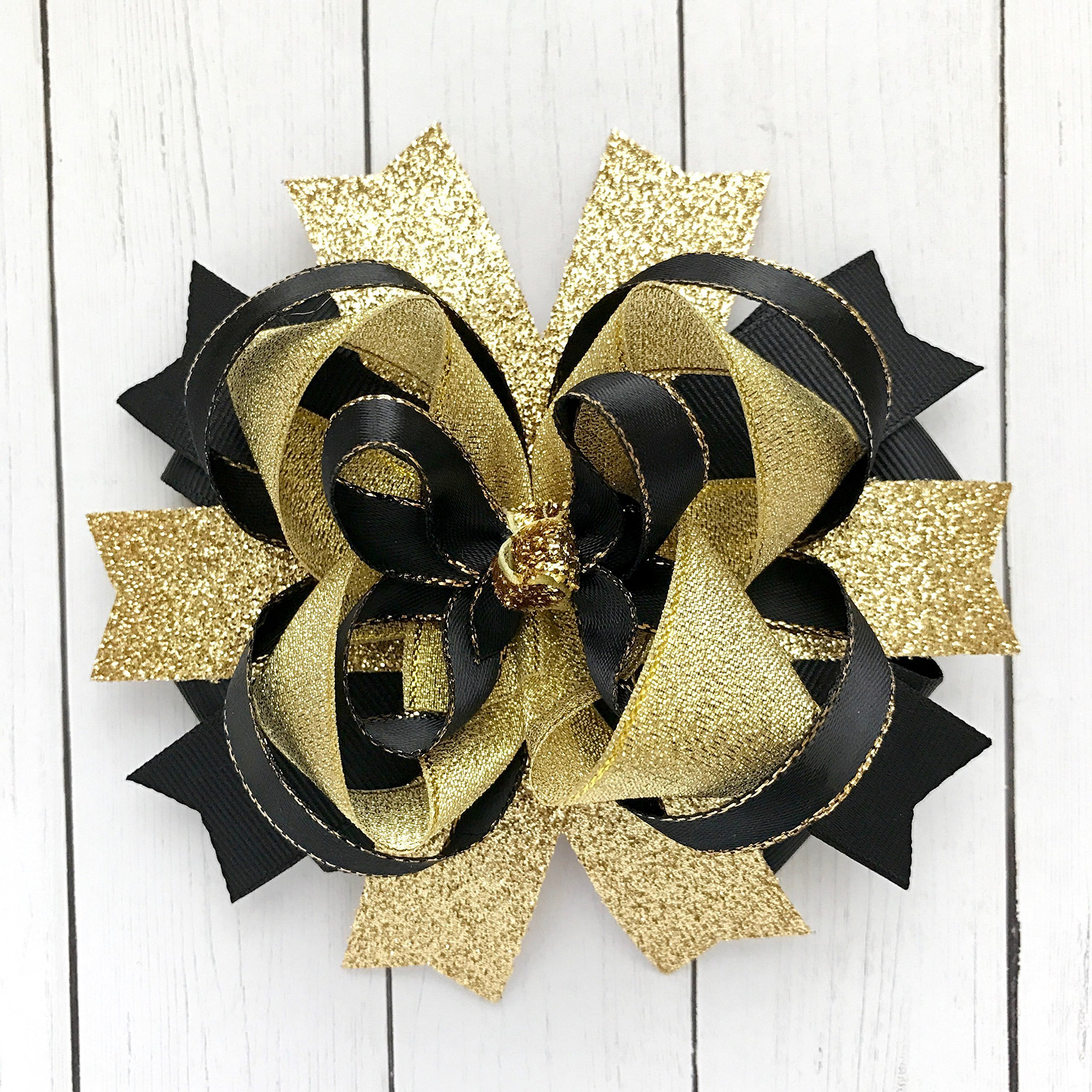 Black and Gold Hair Bow, Handmade Boutique Glitter Sparkling Hair Bow, Large Layered Gold Hair Bows