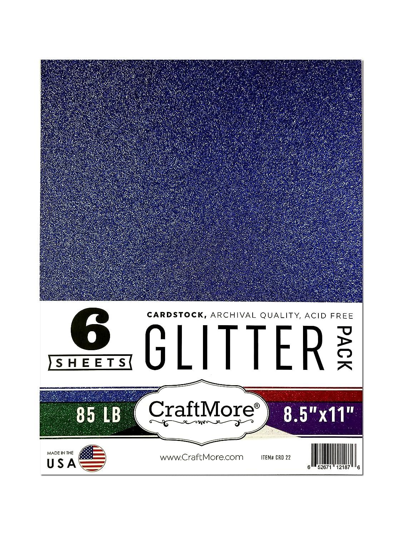 CraftMore 8.5×11インチ キラキラカードストック エッセンシャルパック 6枚入り B07D95P7KY