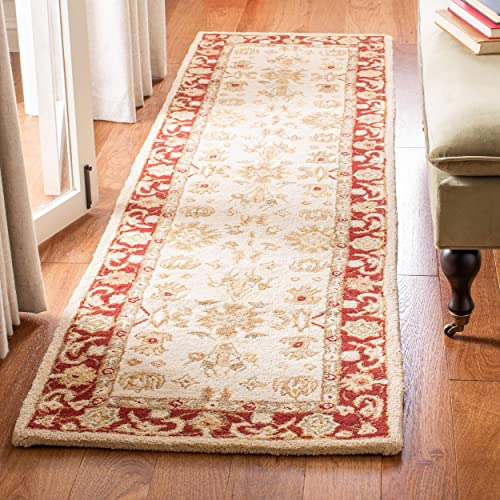 Safavieh Anatolia Collection AN551A Handmade Traditional Oriental Ivory and Red Wool Runner 2 3 x 12