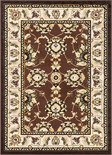 Well Woven Floral All Over French Aubusson Style Value Black Area Rug 5×7 5' x 7'2'' European Perfect Living Room Dining Room Soft Easy Care Carpet