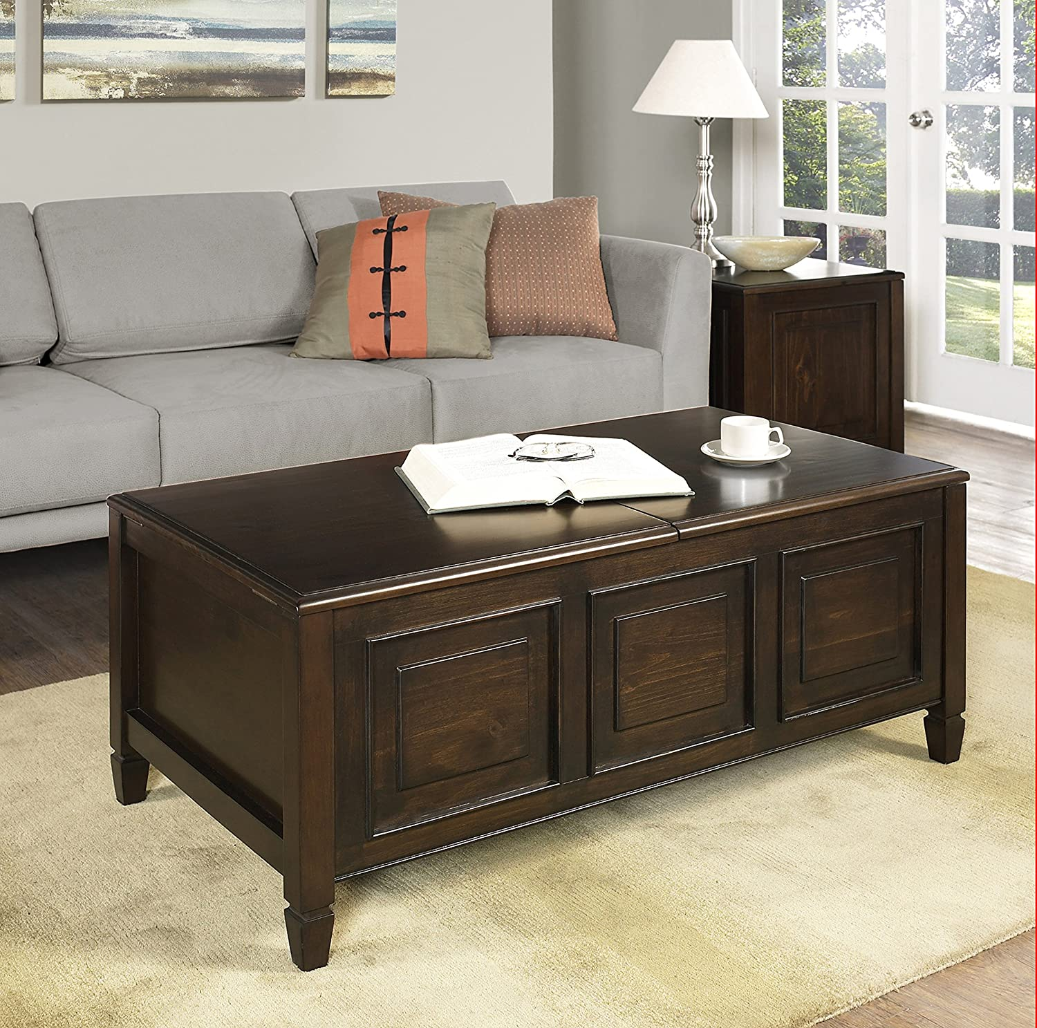 Amazon.com: Simpli Home Connaught Coffee Table With Trays, Dark Chestnut  Brown: Kitchen U0026 Dining