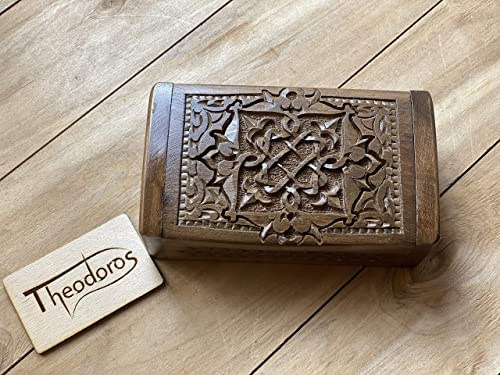 Gift Carved Wooden Box with Beautiful Ornaments Handmade Armenian Jewelry Box made of Walnut wood Hardwood Souvenir