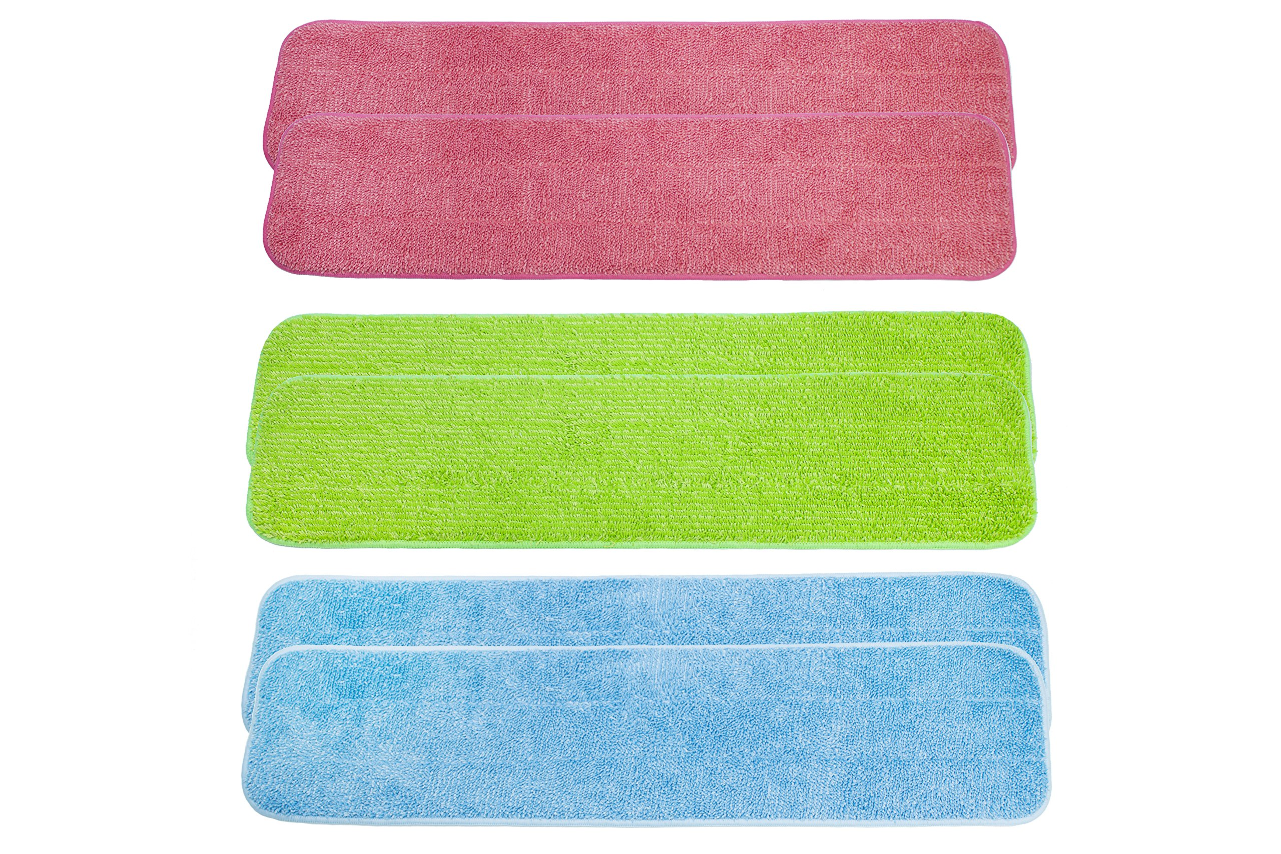 LTWHOME 24'' Multi-Color Combination Microfiber Commercial Mop Refill Pads Fit for Wet or Dry Floor Cleaning (Pack of 6)