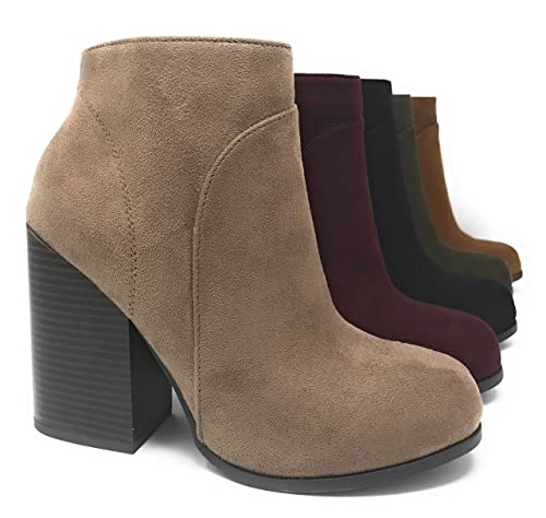 ca4a23ad8c85c Amazon.com | MVE Shoes Women's Shoe Faux Suede Zip Up Stacked High ...