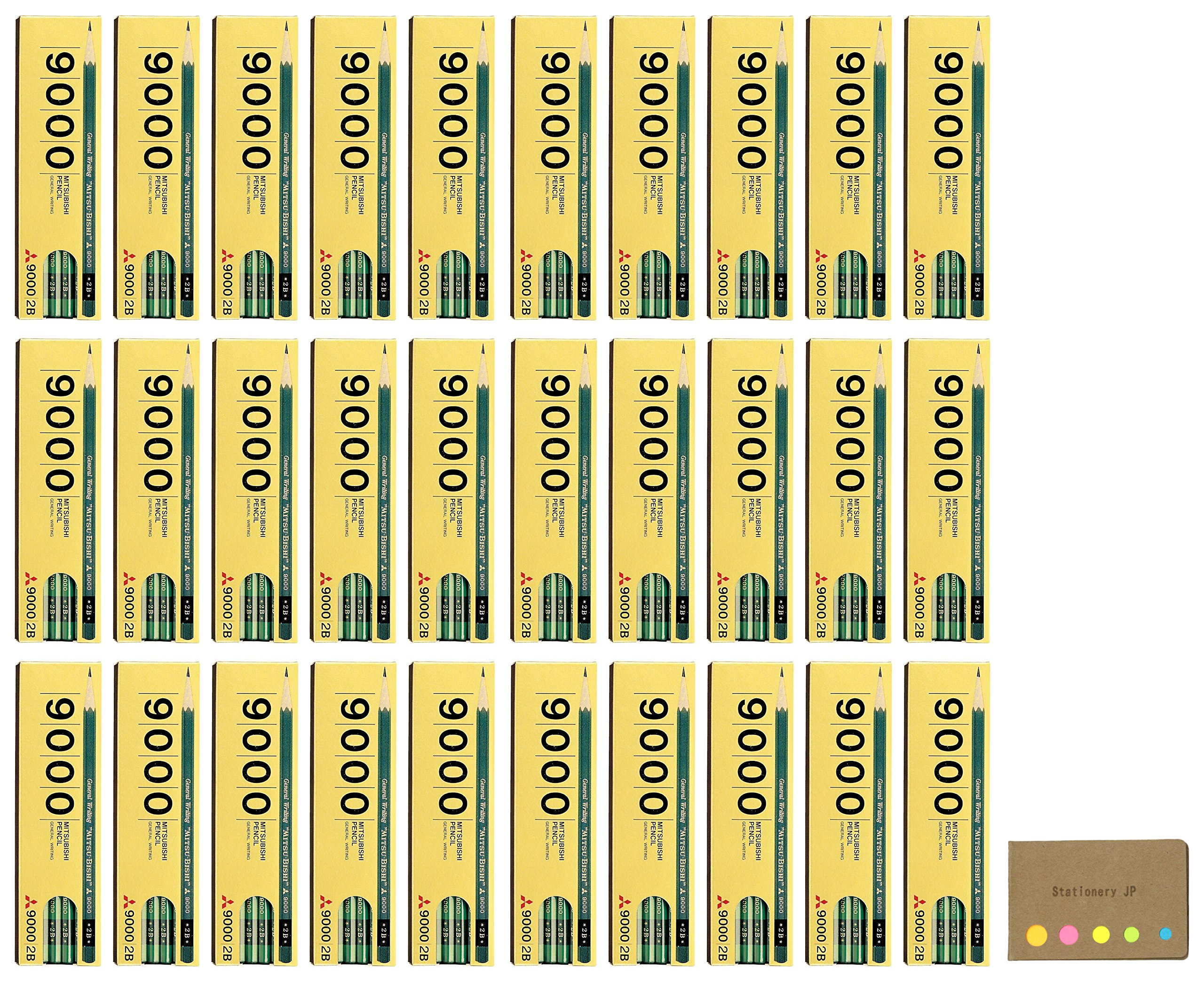 Uni Mitsubishi 9000 Pencil, 2B, 30-pack/total 360 pcs, Sticky Notes Value Set by Stationery JP (Image #1)