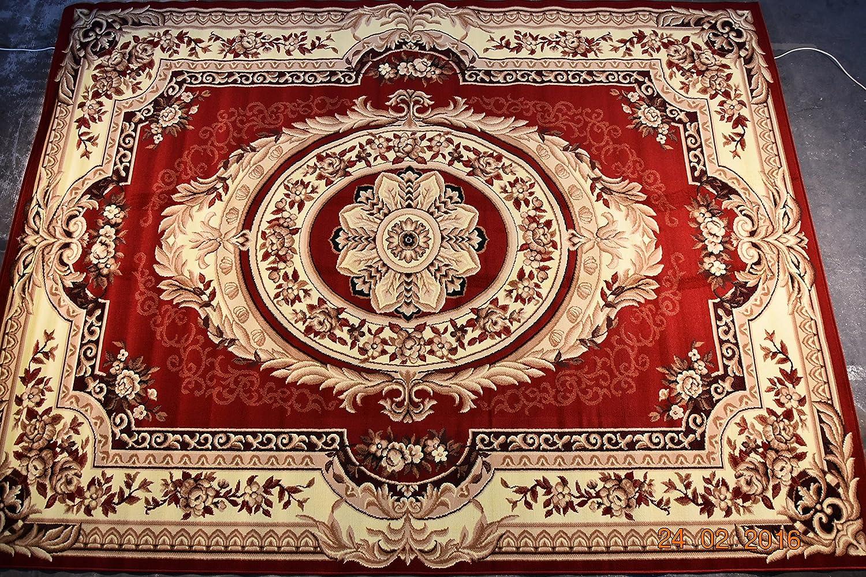 Karatcarpet Klassischer Teppich Kurzflor Kollektion Gold 146 22 Rot, Seidenglanz. (300x500 cm)