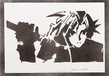 Póster Cloud Strife Final Fantasy Grafiti Hecho A Mano - Handmade Street Art - Artwork