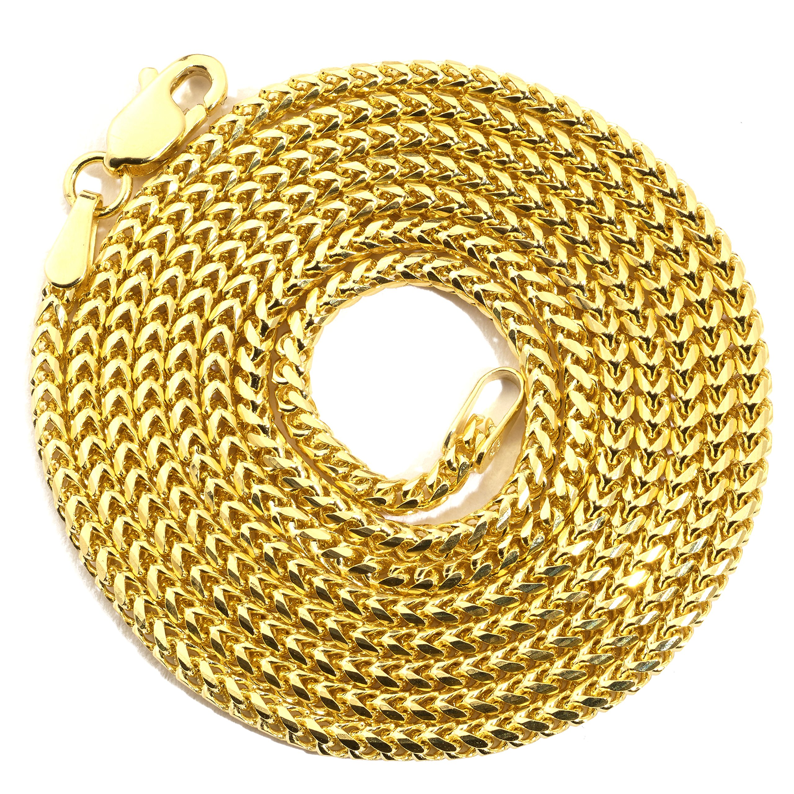 LoveBling 10K Yellow Gold 1.5 mm 30'' Solid Diamond Cut Franco Chain Necklace with Lobster Lock