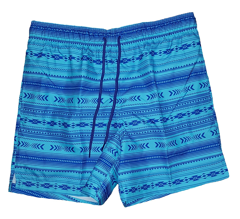 Aztec Print Turquoise Combo Above The Knee 6 Inseam Swim Short Trunks