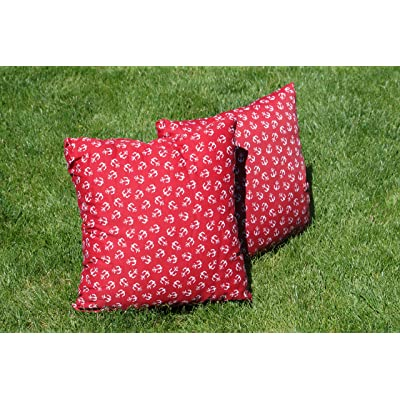 Pebble Lane Living Pair of Indoor or Outdoor Nautical Square Throw Pillows - Red Anchor : Garden & Outdoor