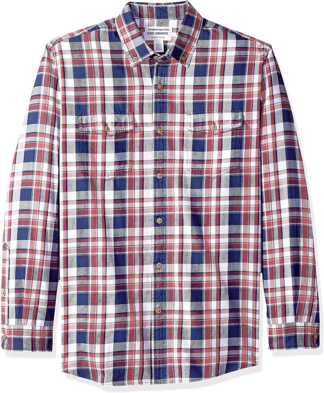 Essentials Regular-fit Long-Sleeve Two-Pocket Twill Sport Shirt