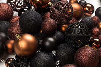 amazoncom 100 brown and black christmas ornament balls shatterproof 100 metal ornament hooks hanging ornaments for indooroutdoor christmas tree - Black Christmas Decorations