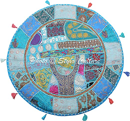 Turquoise Blue Indian Floor Pillow Embroidered Vintage Meditation Round Cushion
