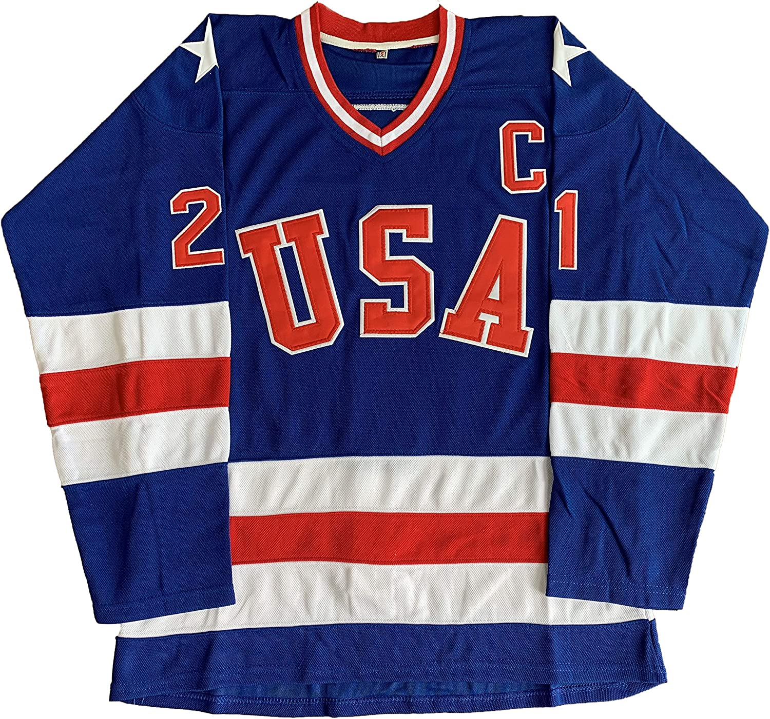 1980 USA Olympic Hockey #21 Mike Eruzione #17 O'Callahan #30 Jim Craig Miracle On Ice USA Jersey White Blue