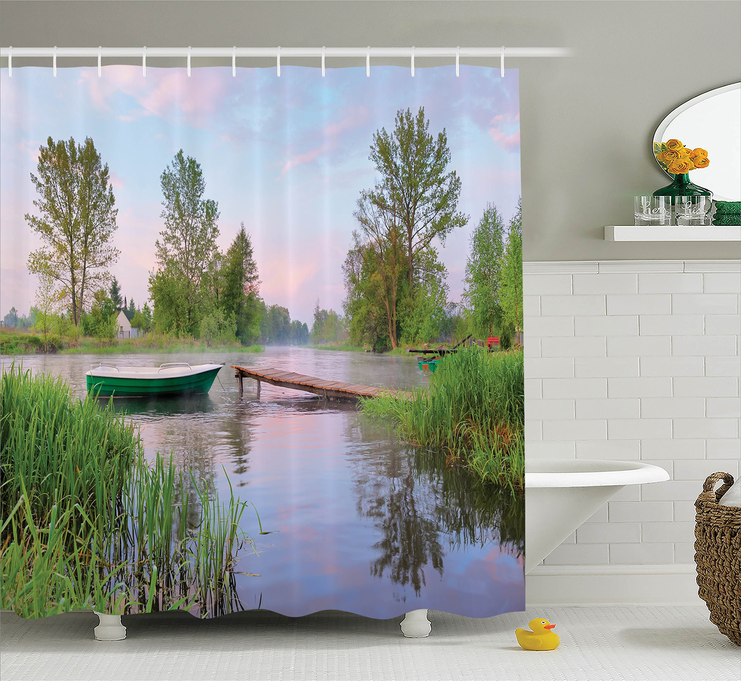 Ambesonne Lake House Decor Collection, Rural Landscape on Lakeside Boat Trees Grass Clouds and Boardwalk Countryside, Polyester Fabric Bathroom Shower Curtain Set with Hooks, Green Blue Brown
