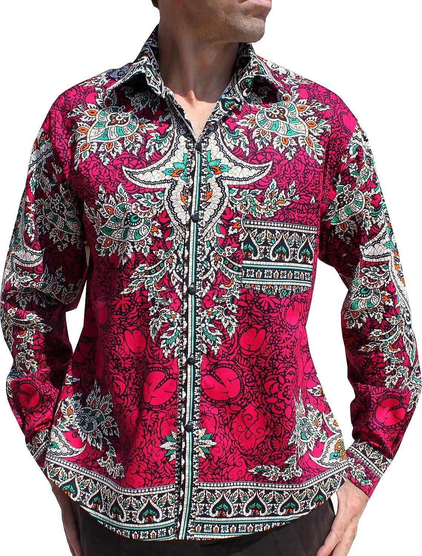 RaanPahMuang Dax Work Shirt in Bold Intricate Indian Carving Artwork Long Sleeve