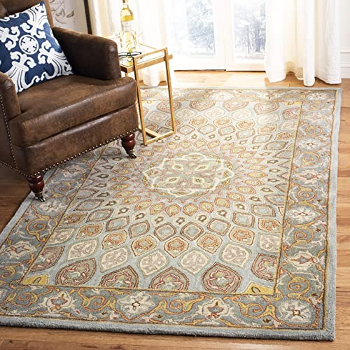 Safavieh Heritage Collection HG914B Handcrafted Traditional Oriental Blue and Grey Wool Area Rug 3 x 5