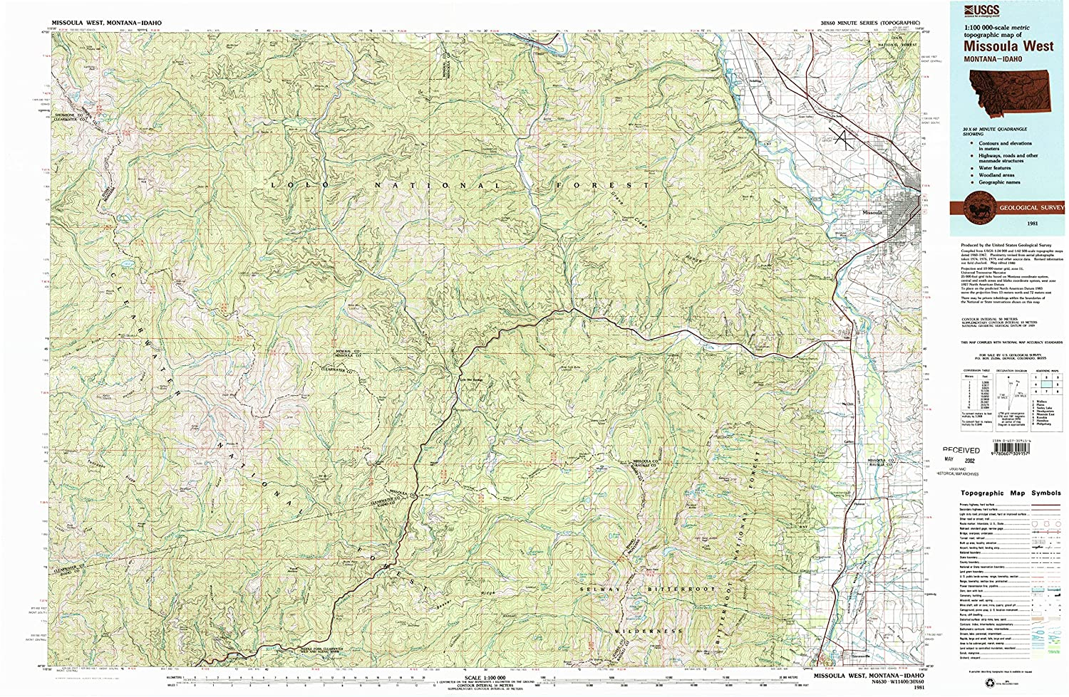 Amazon Com Yellowmaps Missoula West Mt Topo Map 1 100000 Scale