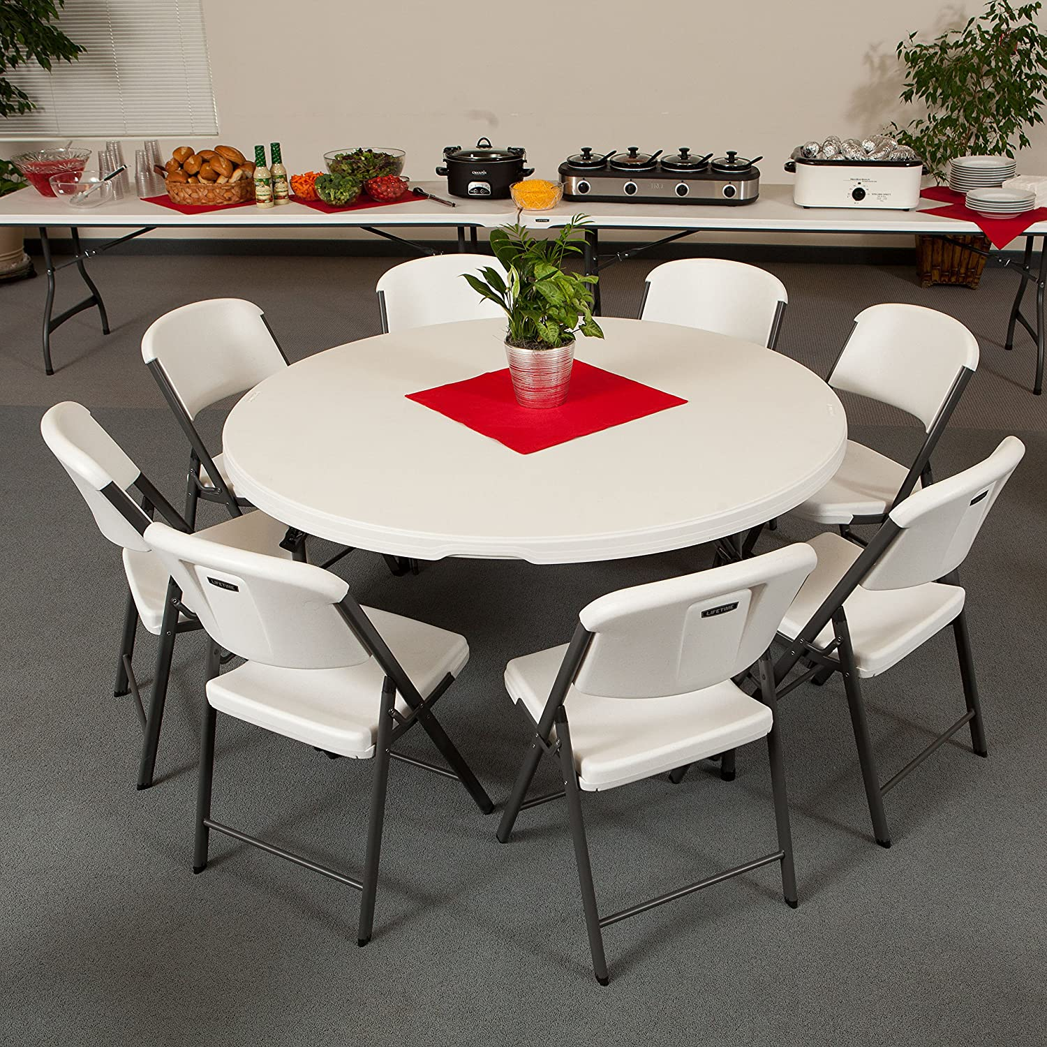 Amazon Lifetime mercial Round Folding Table 5 Feet