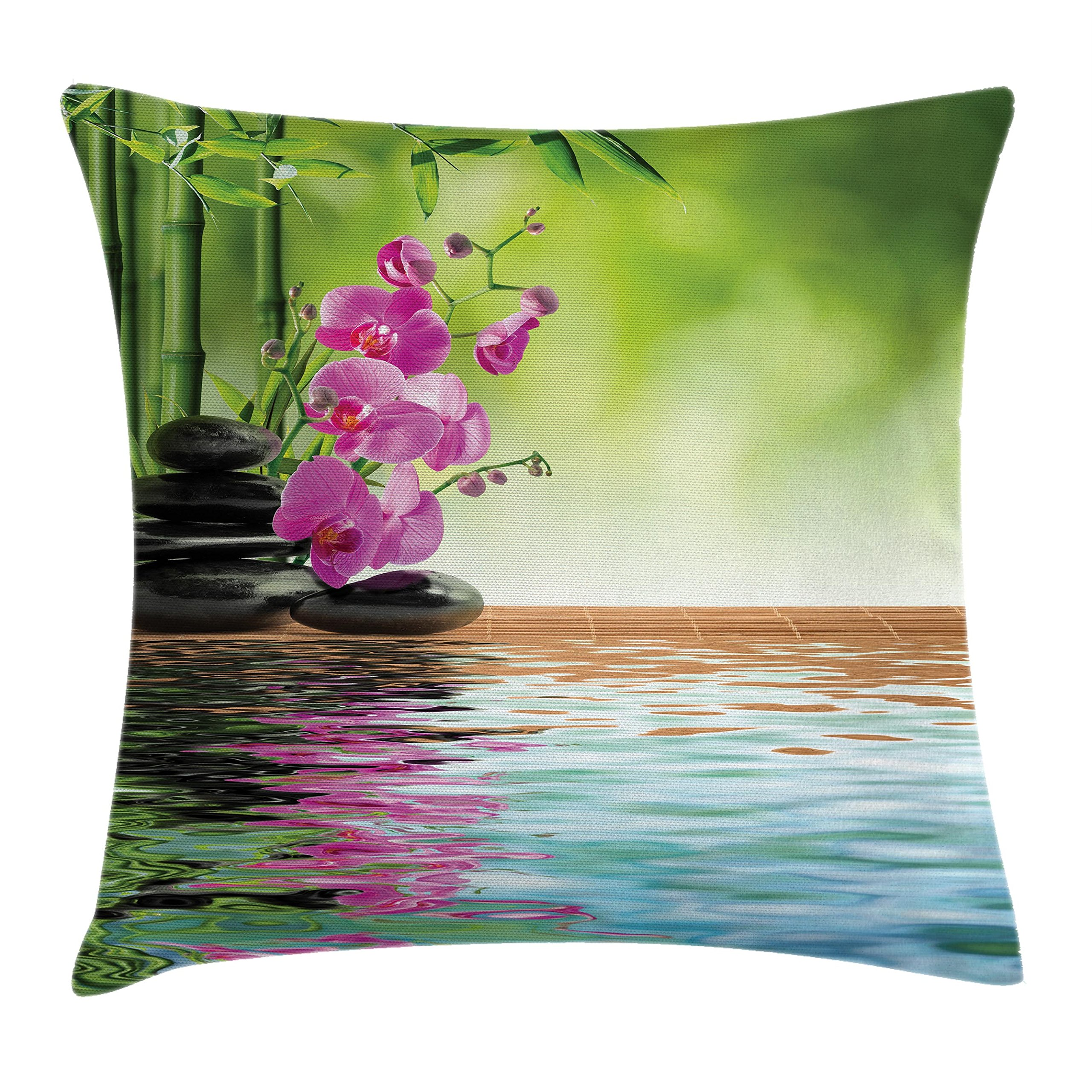 Ambesonne Spa Decor Throw Pillow Cushion Cover, Orchid Flower Stone Oriental Culture Spirituality Wellness Tropical Holiday, Decorative Square Accent Pillow Case, 20 X 20 inches, Green and Purple