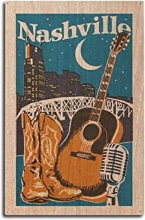 product image for Lantern Press Nashville, Tennessee - Woodblock (10x15 Wood Wall Sign, Wall Decor Ready to Hang)