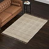 Amazon Brand – Rivet Modern Textured Area Rug, 5 x 8 Foot, Grey, White