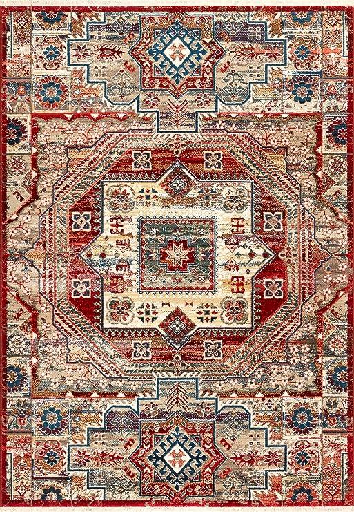 nuLOOM KHTR08A Tribal Medallion Fringe Kaiah Runner Rug 2 6 x 8 Red