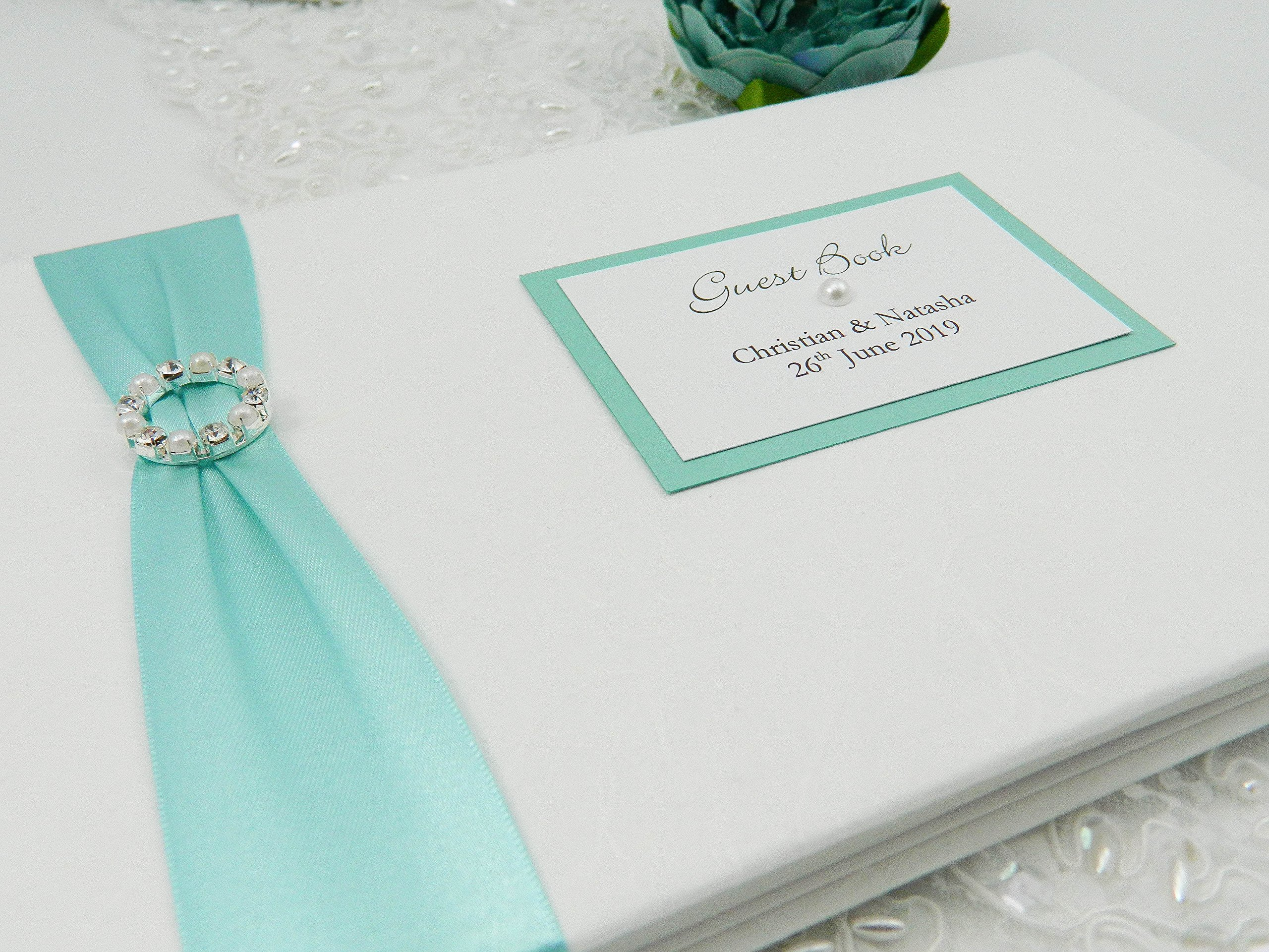 Boxed & Personalised Pearl & Diamante Wedding Guest Book - Handmade to order. Elegant Ivory, White, Red, Purple, Pink, Blue, Cream (any colour) bespoke guest books for Weddings