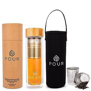 Pour doble pared aislante botella con infusor de té (cristal de borosilicato con estanca tapa
