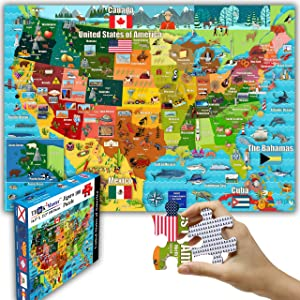 """Think2Master Colorful United States Map 100 Pieces Jigsaw Puzzle Fun Educational Toy for Kids, School & Families. Great Gift for Boys & Girls Ages 4+ to Stimulate Learning of USA. Size:23.4"""" X 16.5"""""""