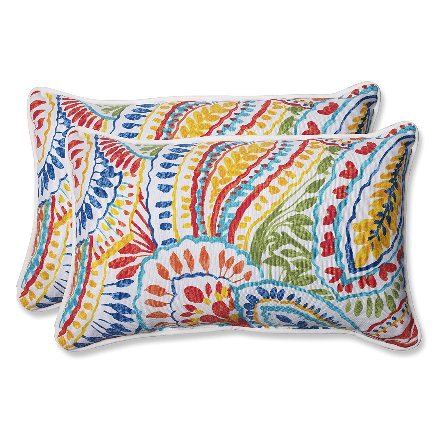 Pillow Perfect 572581 Outdoor Ummi Rectangular Throw Pillow Set of 2 Multicolored