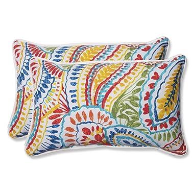 Pillow Perfect 572581 Outdoor Ummi Rectangular Throw Pillow, Set of 2, Multicolored