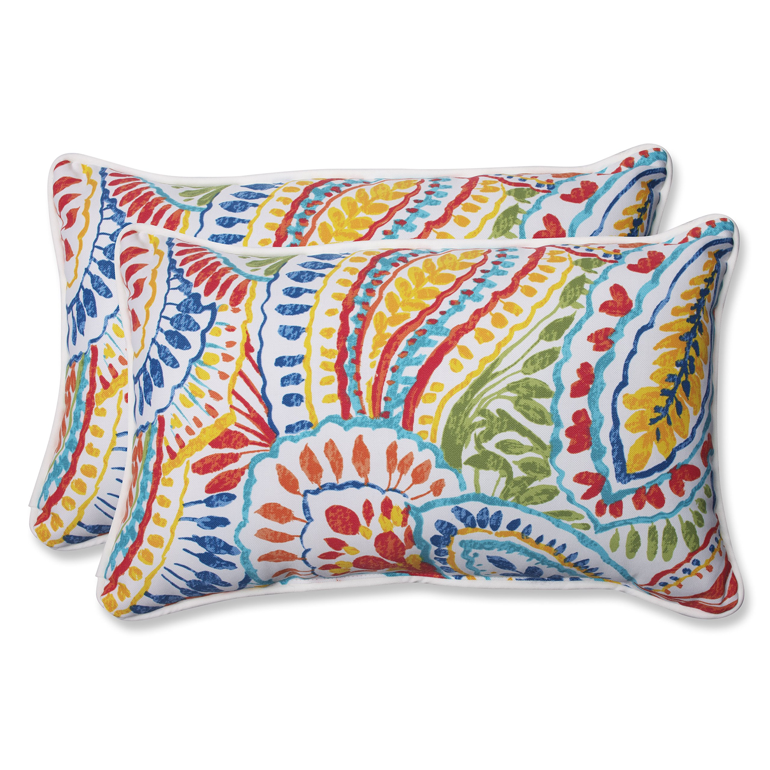 Pillow Perfect Outdoor Ummi Rectangular Throw Pillow, Multicolored, Set of 2 by Pillow Perfect