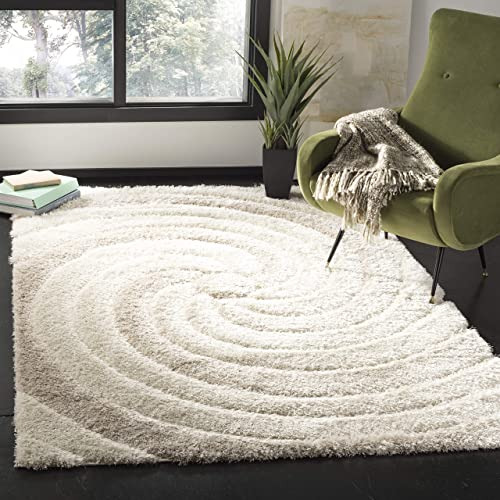 Safavieh Selarmo Shag Collection SEL867C Cream and Beige Area Rug 3' x 5'