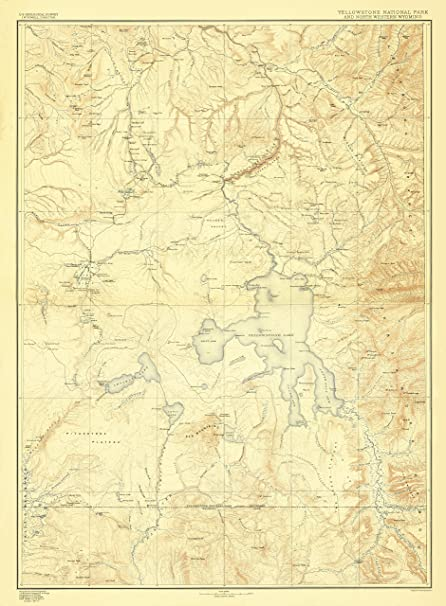 Amazon.com: Topographical Map - Yellowstone National Park Wyoming ...
