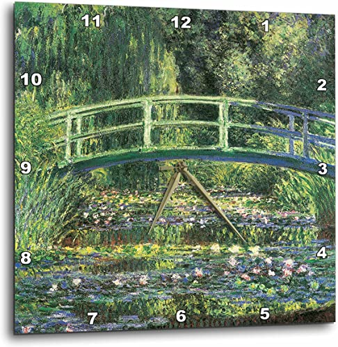3dRose DPP_126630_2 Water Lilies and Japanese Bridge by Claude Monet 1899 Wall Clock, 13 by 13-Inch