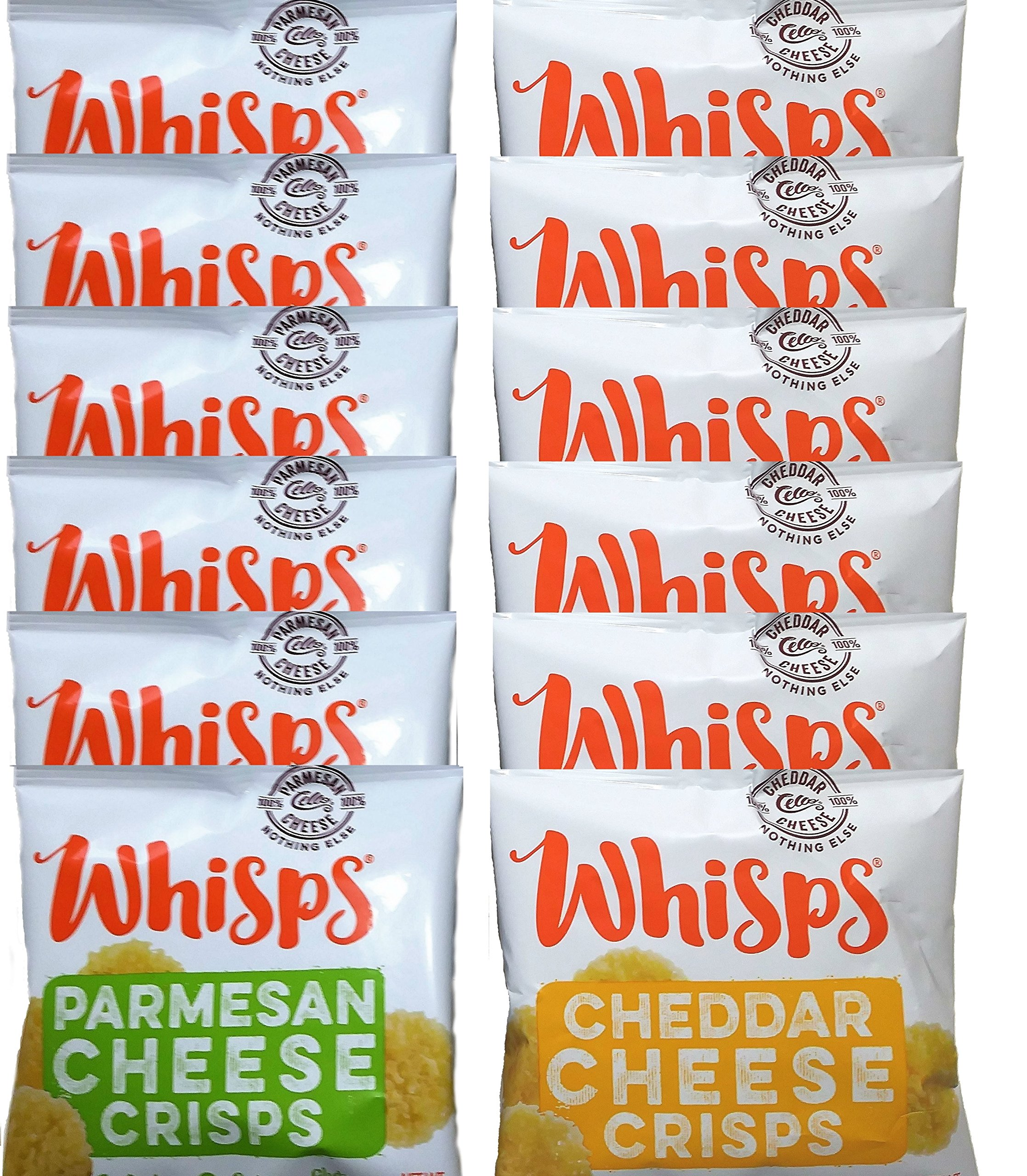 Whisps Cheese Crisps, Single Serve Bags (.63oz), 12 Pk Assortment (6 Parmesan & 6 Cheddar) by Cello Whisps