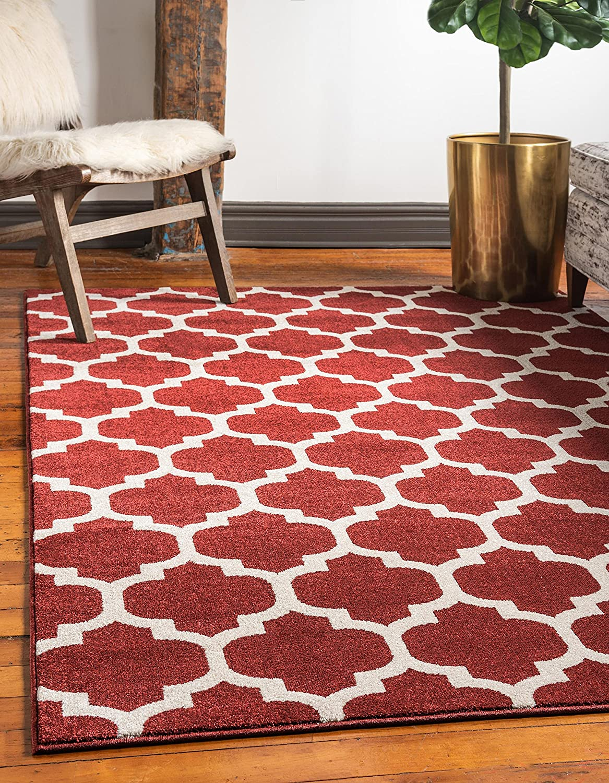 Unique Loom Trellis Collection Moroccan Lattice Red Area Rug (6' 0 x 9' 0)