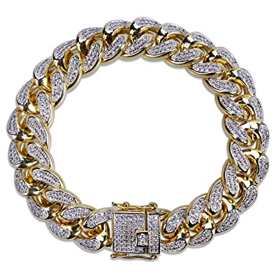 Image Unavailable. Image not available for. Color  SHINY.U 14mm 14K Gold  Plated Hip Hop Iced out CZ Lab Diamond Miami Cuban 66027d56e7c9