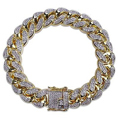 b8b0e9256558c SHINY.U 14mm 14K Gold Plated Hip Hop Iced Out CZ Lab Diamond Miami Cuban  Link Chain Bracelet for Men and Women