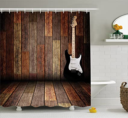 Amazon.com: Ambesonne Popstar Party Shower Curtain, Electric Guitar ...