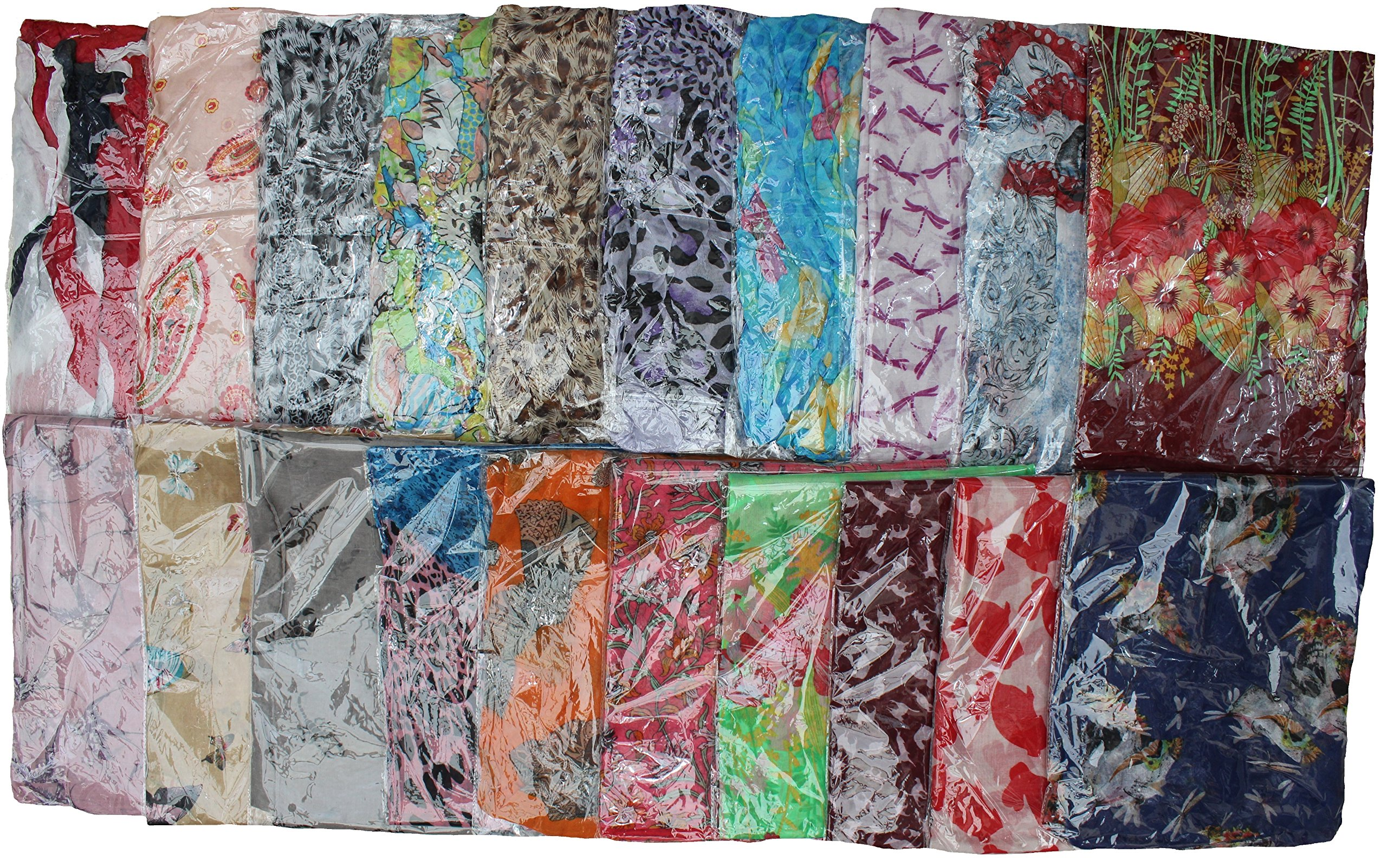 Kuldip Crushed Effect Pashmina Style Scarf Shawl Stole. Mixed designs. (Pack of 50).