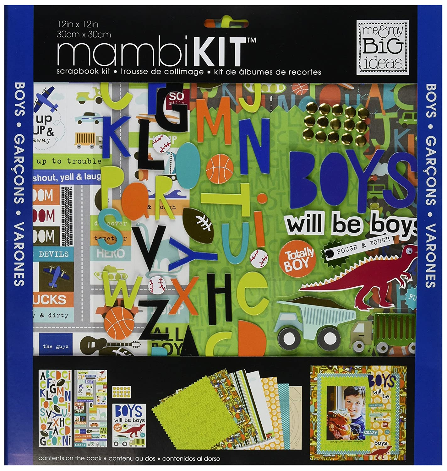 me & my BIG ideas Scrapbook Page Kit, Boys Will Be Boys, 12-Inch by 12-Inch Me and My Big Ideas SRK-68