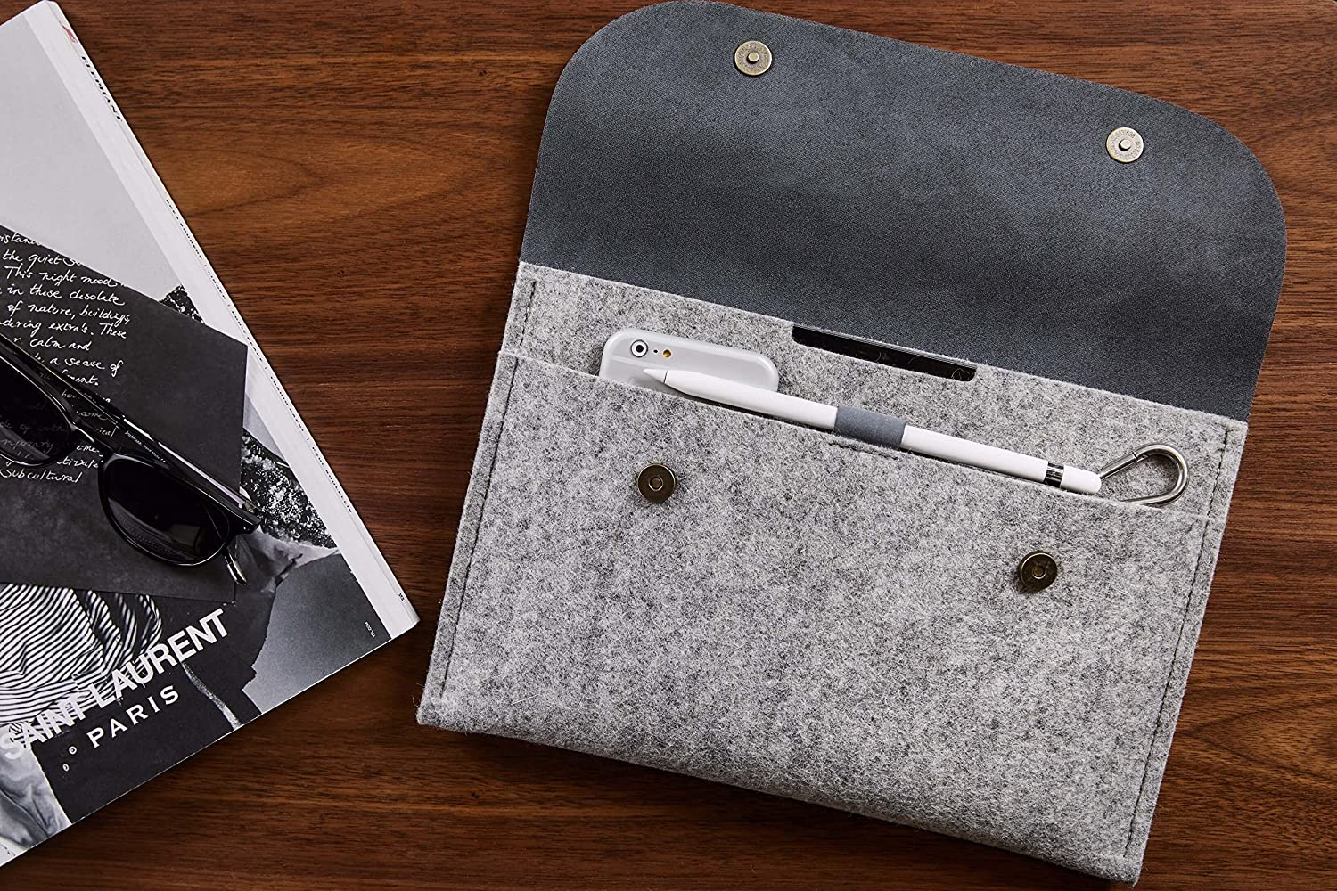 CitySheep Handmade Case Sleeve Cover Pouch for Apple iPad 10.5 iPad Pro 10.5 Computer Tablet Genuine Leather and Pure Wool Felt Grey 2 Compartments and Pencil Holder Scratch and Hit Protection