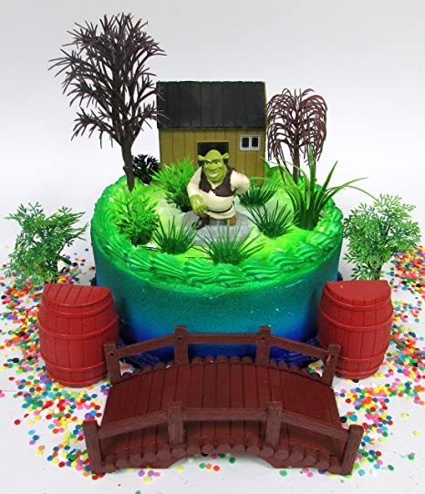 SHREK Birthday Cake Topper Set Featuring Shrek Cake Topper Figure and Decorative Accessories