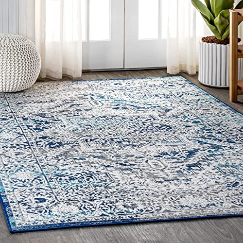 JONATHAN Y MDP100 Modern Persian Vintage Medallion Navy Light Gray 3 x 5 Area Rug