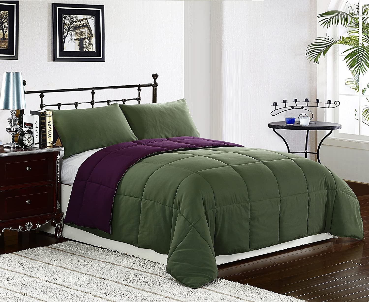 Purple/Green TWIN Size 2-Piece Reversible Down Alternative Comforter Set by Cozy Beddings